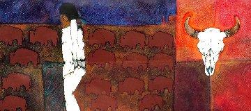 Hermanos De La Tierra From the Mestizo Series 49x100 Works on Paper (not prints) by Amado Pena