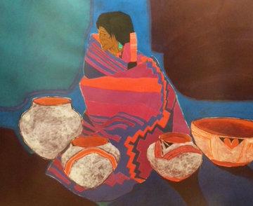 Ollas Blancas 1987 42x42  Huge Original Painting - Amado Pena