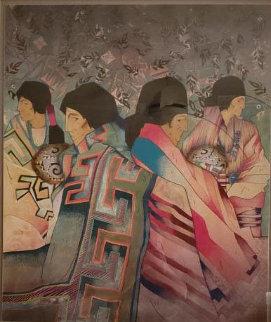 Mestizo Series: Seis De Acoma 45x40 Huge Original Painting - Amado Pena