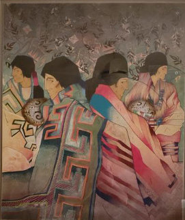 Mestizo Series: Seis De Acoma 45x40 Original Painting by Amado Pena