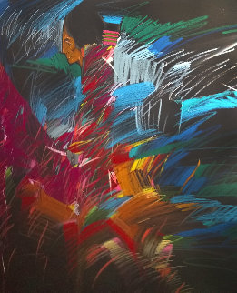 Mujer De Colores Dos 1988 50x30 Super Huge  Original Painting - Amado Pena