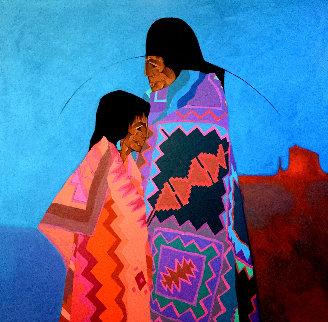Los Dos 1988 49x49 Huge Original Painting - Amado Pena