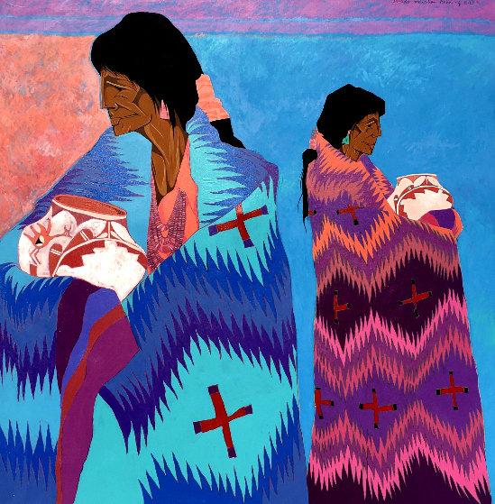 Dos Colchas 1989 49x49 Original Painting by Amado Pena