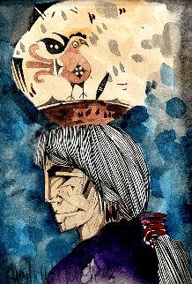 Pajarito De La Portadora 1999 10x8   Original Painting - Amado Pena