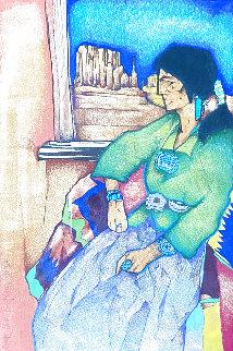 La Ventana De MI Tierra 1998 21x17 Drawing - Amado Pena
