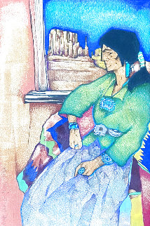 La Ventana De MI Tierra 1998 21x17 Original Painting - Amado Pena