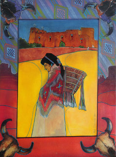 Nambe in Colores 1995 32x26 Original Painting - Amado Pena