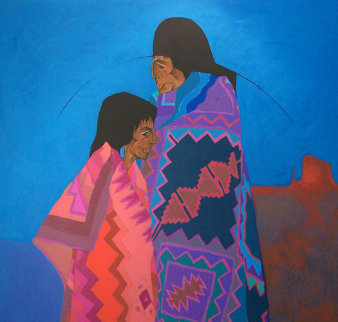 Los Dos 1988 Original Painting - Amado Pena