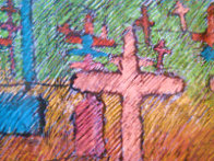 Graveyard And Spirit of Renewal Pastel 29x44 Works on Paper (not prints) by Amado Pena - 1