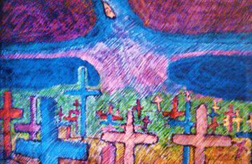 Graveyard and Spirit of Renewal Pastel 29x44 Original Painting - Amado Pena