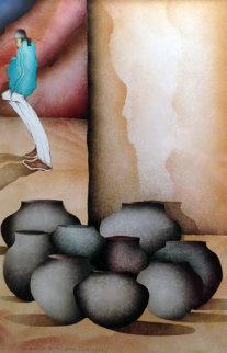 Ollas Blancas 1985 37x27 Original Painting by Amado Pena