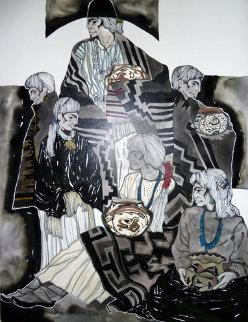 Mestizo Series: Familia 2006 24x18 Original Painting - Amado Pena