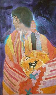 Colcha Series: Acoma En Naranja 1989 25x19 Original Painting - Amado Pena