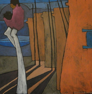 La Ventana 1984 20x20 Original Painting - Amado Pena