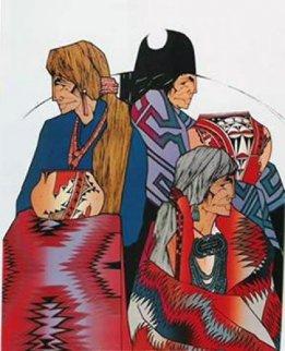 Colcha Series: A La Feria 1990 Limited Edition Print - Amado Pena