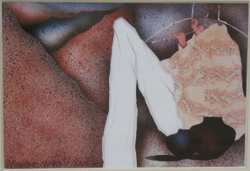 Man Playing Flute 1983 Limited Edition Print by Amado Pena