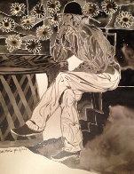 Mestro Series: Pensando 2006 20x16 Drawing by Amado Pena - 0