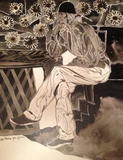 Mestro Series: Pensando 2006 20x16 Drawing - Amado Pena