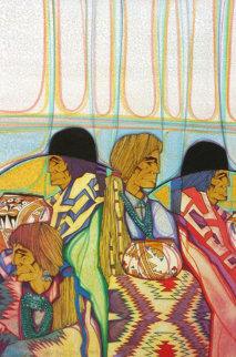 Elegantes En Colores 1997 25x19 Original Painting - Amado Pena