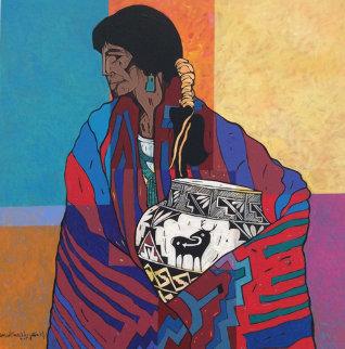 Mestizo Series:  Dos De Acoma 2005 Original Painting - Amado Pena