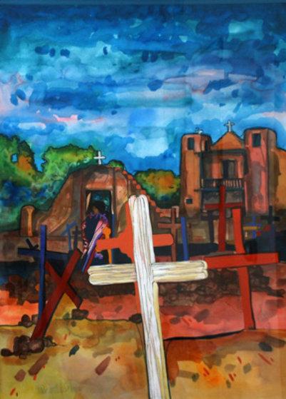 El Camposanto Watercolor 1998 40x32 Original Painting by Amado Pena