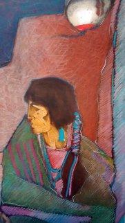 Sentada Con Ollas Viejas 1994 20x16 Works on Paper (not prints) by Amado Pena