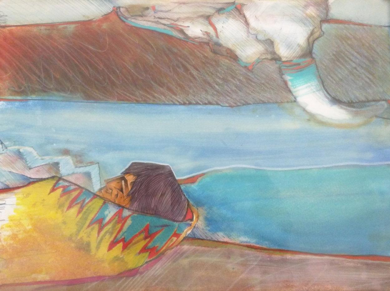 Mujer Y Bisonte 1994 17x21 Original Painting by Amado Pena