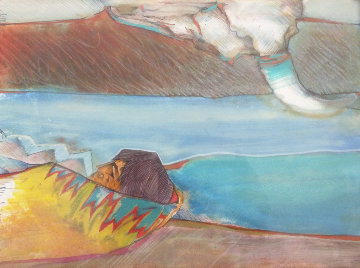 Mujer Y Bisonte 1994 17x21 Original Painting - Amado Pena