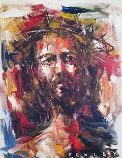Jesus Christ in Crown of Thorns 2005 40x30 Original Painting by Steve Penley