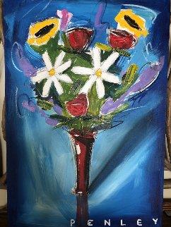 Floral on Blue 36x24 Original Painting - Steve Penley