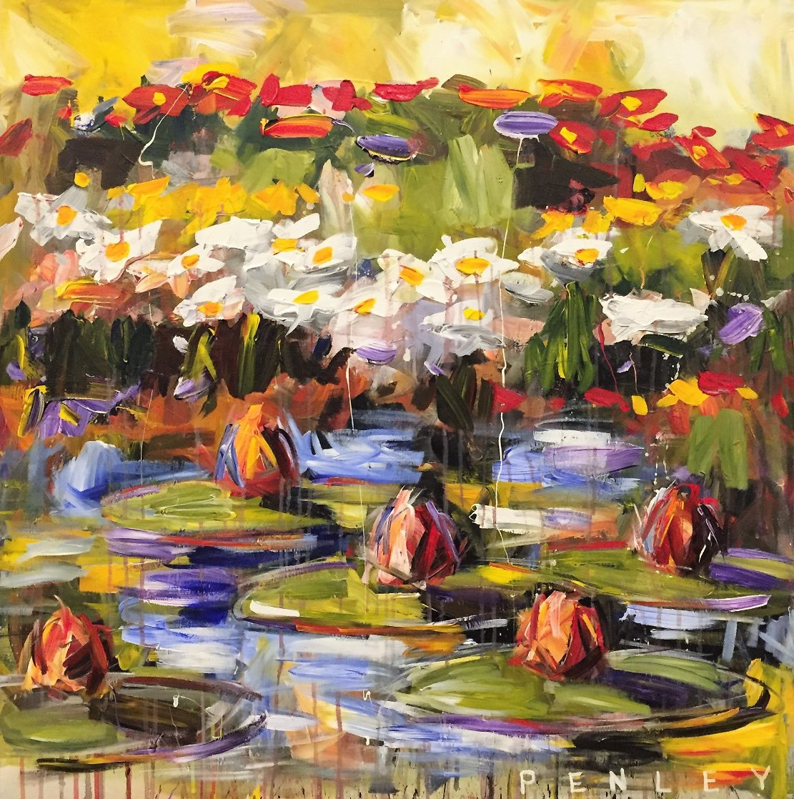 Lily Pads 2000 36x36 Original Painting by Steve Penley