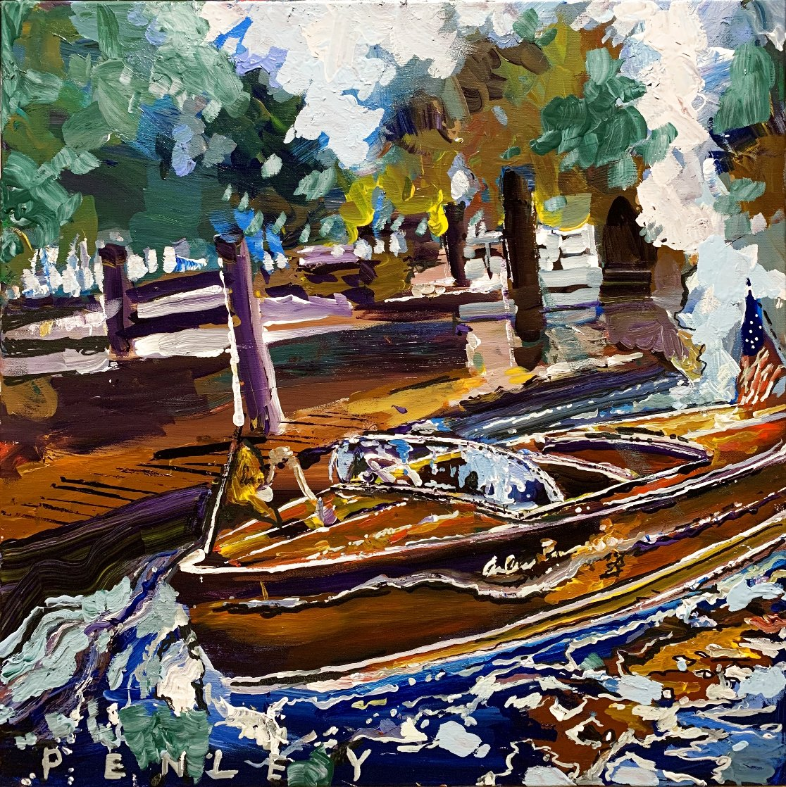 Vintage Boats 2020 24x24 Original Painting by Steve Penley