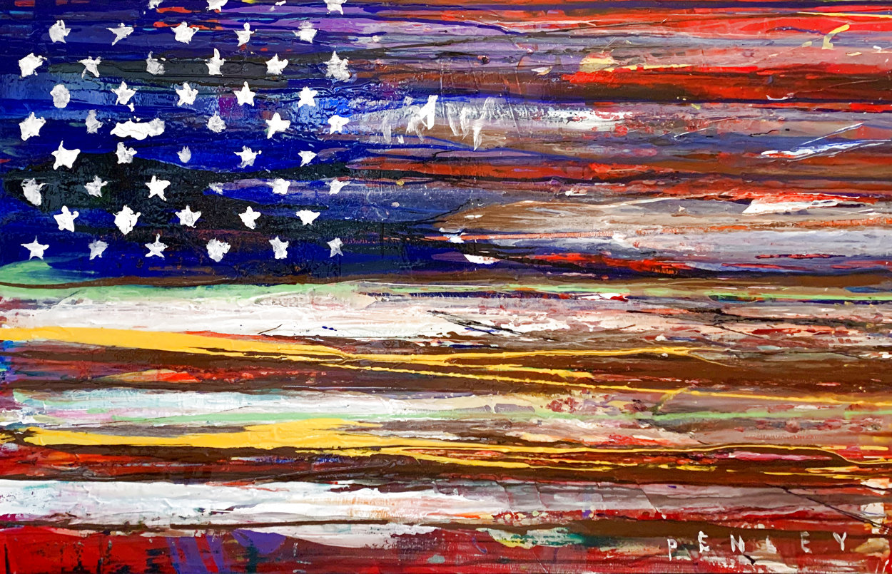 American Flag 2009 36x60 Super Huge Original Painting by Steve Penley