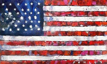 American Flag 2021 36x60 Super Huge Original Painting - Steve Penley