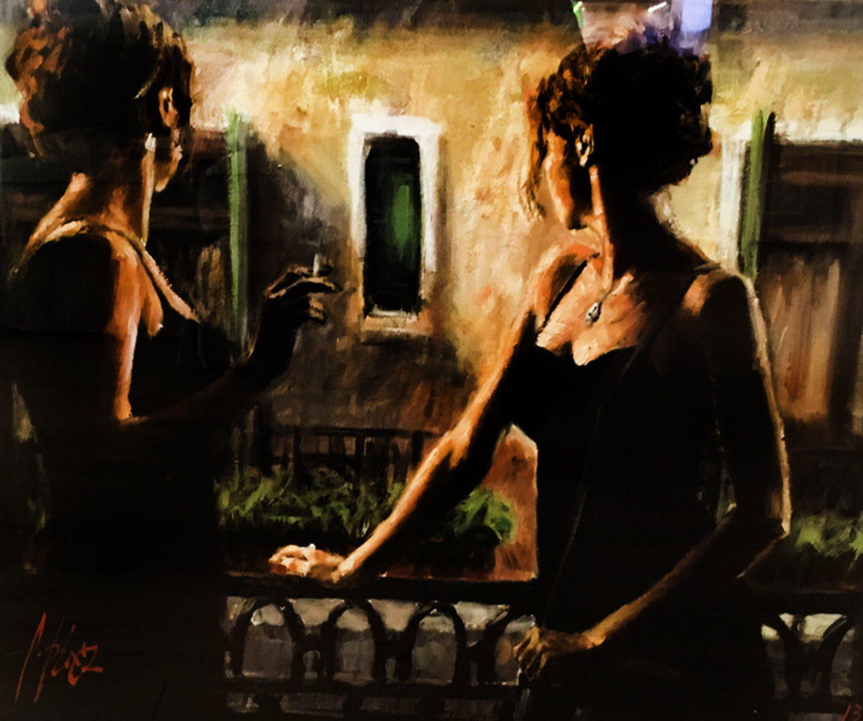 Balcony At Buenos Aires V Embellished 2007 Limited Edition Print by Fabian Perez