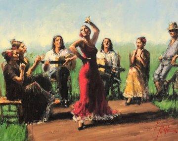 Juergas Bajo El Sol II 2006 37x43 Original Painting - Fabian Perez