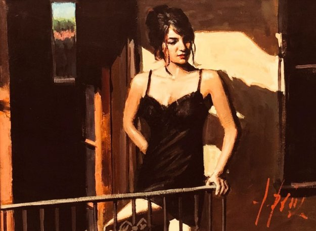 Saba At The Balcony in Black Dress 31x37 Original Painting by Fabian Perez