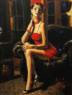 Linda in Red II 34x18 Original Painting - Fabian Perez