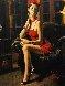 Linda in Red II 34x18 Original Painting by Fabian Perez - 0