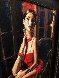 Linda in Red II 34x18 Original Painting by Fabian Perez - 3