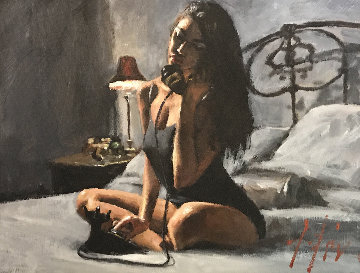 Black Phone III 2015 17x21 Original Painting - Fabian Perez