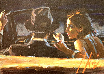 Paco And Darya In Car 22x25 Original Painting - Fabian Perez