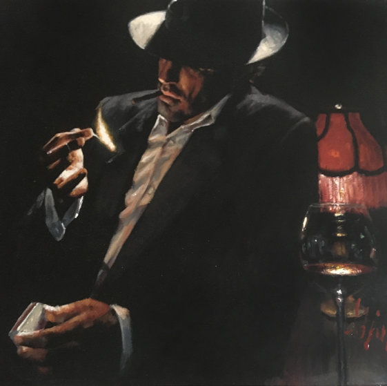 Man Lighting a Cigarette II  Embellished Limited Edition Print by Fabian Perez