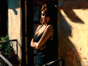 Saba on Balcony With Black Dress II 2012 26x30 Original Painting - Fabian Perez