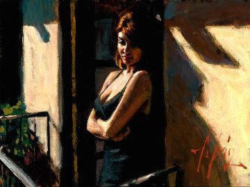 Saba on Balcony With Black Dress II 2012 26x30 Original Painting - Fabian Perez
