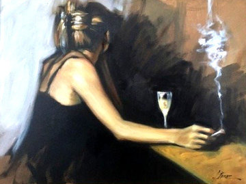 In the Bar 26x32 Original Painting by Fabian Perez