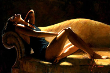 Paola on the Couch Caramel 2018 Limited Edition Print - Fabian Perez
