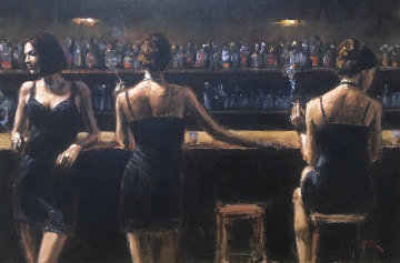 Study For 3 Girls in the Bar 34x40 Super Huge Original Painting - Fabian Perez