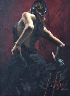 Dancer in Black Dress 2010 25x22 Double Signed Original Painting - Fabian Perez