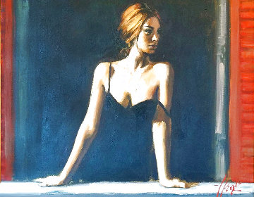 Balcony At Buenos Aires V 36x41 Super Huge Original Painting - Fabian Perez